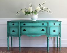 Antique Hepplewhite Serpentine Front Hand Painted French Country Cottage Chic Distressed Turquoise / Aquamarine Buffet Sideboard