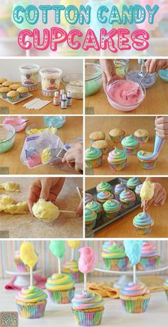 Okay party people hold on to your pointy hats because I'm about to share the cutest party idea ever! These Cotton Candy Cupcakes are super fun super easy a Deco Cupcake, Cookies Cupcake, Yummy Cupcakes, Gourmet Cupcakes, Easter Cupcakes, Cupcake Party, Cupcake Decorating Party, Ice Cream Cupcakes, Banana Cupcakes