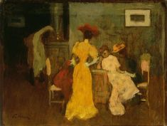 Ladies in the Interior, 1894 by Jozsef Rippl Ronai (1861-1927, Hungary) | Reproductions Jozsef Rippl Ronai | WahooArt.com Post Impressionism, Impressionist, Oil Painters, French Art, Figure Painting, Contemporary Artists, Creative Art, Art History, Art Nouveau