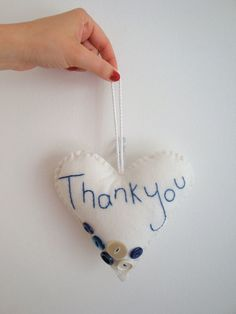 Thank You Blue Button Love Heart Decoration// by StampAndStitch, Heart Decorations, Love Heart, Valentines, Christmas Ornaments, Button, Holiday Decor, Creative, Handmade, Stuff To Buy