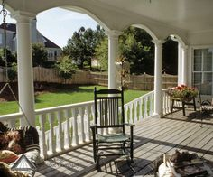 White open back porch with columns