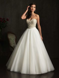 Beautiful ball gown in English Net with embellished bodice from Allure Bridals.