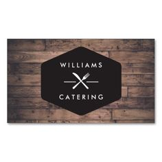206 best catering business cards images on pinterest catering rustic distressed wood fork knife intersect logo 2 business card flashek Images