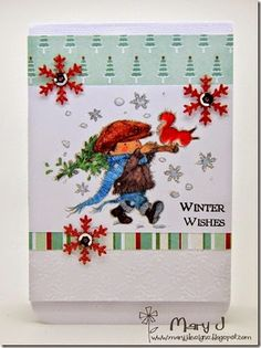 Using the 'Tis the Season pad and he very conveniently goes well with the Festive Trimmings x paper pad by Lili of the Valley Mary J, Lily Of The Valley, Vintage Christmas, Christmas Cards, Projects To Try, Card Making, Seasons, Winter, Creative