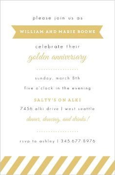 Yellow vintage frame anniversary party invitation parents anniv modern golden anniversary invitation stopboris
