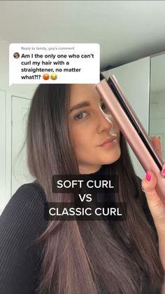 Hair Curling Tips, Curl Hair With Straightener, Beach Waves With Straightener, Hair Straightening, Curled Hairstyles, Straight Hairstyles, Cool Hairstyles, Hairdos, Hair Tips Video