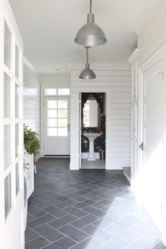 Slate herringbone floors and shiplap walls || Studio McGee