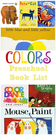 Preschoolers love to learn about colors. This colors preschool book list will keep your little one engaged and help him learn the colors of the rainbow.