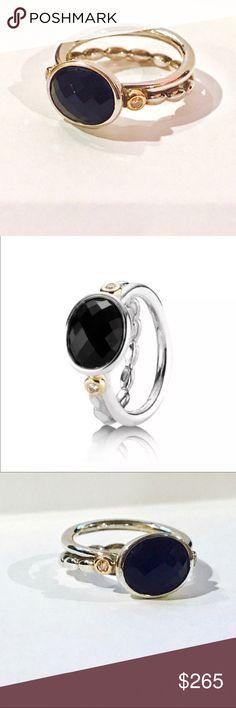 d805b148db2 RARE! PANDORA 14K 925 Black Onyx  amp  Diamond Ring RETIRED  amp  EXTREMELY  RARE