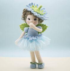 Amigurumi häkeln Puppe  Sweet Chicorée-Blumen-Fee mit Flügeln