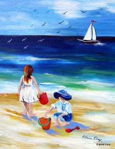 Two on the Beach original painting 16 x 20 Art by ElainesHeartsong, $145.00