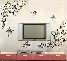 Newsee Decals Butterfly Wisteria Flowers Vine Art Vinyl Wall Decal Stickers Home Decor Good Life http://smile.amazon.com/dp/B00GGFU5OO/ref=cm_sw_r_pi_dp_ZkCStb05H1EM78X6