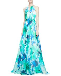 Sleeveless Belted Floral Ball Gown by Carmen Marc Valvo at Bergdorf Goodman.