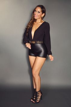 Black Plunge V-Neck Long Sleeve With Faux Leather Bottom Sexy Romper