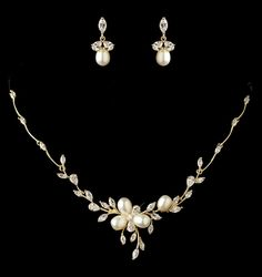Lovely Freshwater Pearl and CZ Gold Plated Wedding Jewelry Set - jewelry sale!  - Affordable Elegance Bridal -