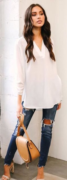 #winter #outfits white's sheer white v-neck 3/4-sleeved top. Pic by @vicidolls.
