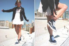 Outfit Details:  Dress: Vintage / Moto Jacket: Hellz / Collar: DIY / Shoes: Vans Sk8 Hi's