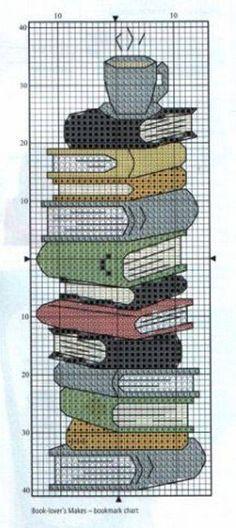 boekenlegger, met boeken & koffie