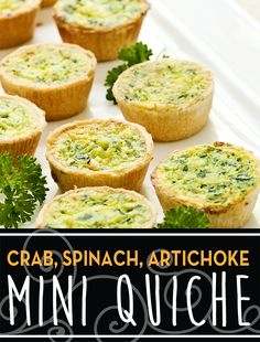 Mini Quiches with Cheese and Spinach bridal brunch Mini Quiches, Breakfast And Brunch, Breakfast Recipes, Breakfast Quiche, Breakfast Cups, Breakfast Ideas, Appetizers For Party, Appetizer Recipes, Bridal Shower Appetizers