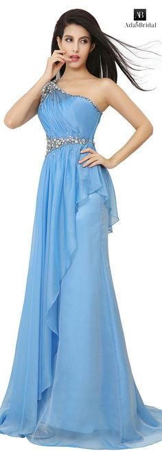 In stock exquisite silk-like chiffon one shoulder neckline A-Line prom dresses with rhinestones(SOD84901)