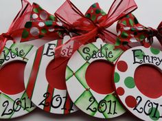 Set of 4 Personalized Ornament Picture Photo Frames Hand Painted Custom Designs Holiday 15% off