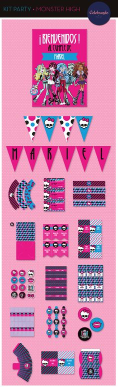 Kit imprimible printable Monster High - Celebrando Fiestas