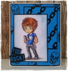 My Crafty world: Visible Image Image Stamp, Spectrum Noir, You Rock, Copics, Smurfs, Cardmaking, Projects To Try, Crafty, Frame