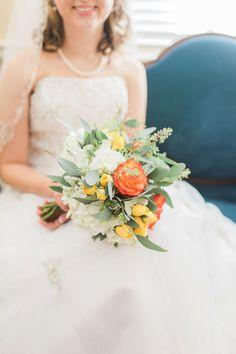 Orange and yellow wedding bouquet