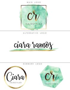 Mint green logo design Watercolor logo branding package Mint