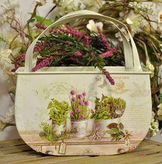 Uroczy Koszyczek na Zioła i Kwiaty Prowansja Decoupage / Basket on Herbs and Flowers Provence Decoupage