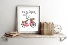 Life Is An Adventure Enjoy The Ride  - Red Bicycle With Flowers Watercolor Printable Wall Art Inspirational Motivational Quote Bicycle Art
