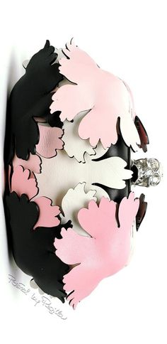 Jimmy Choo ~ Black Leather Clutch w Pink+White Floral Embelishment