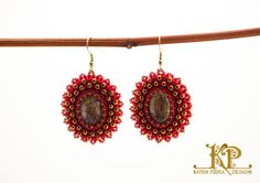 Royal bead embroidery red&gold earrings от KatrinPodra на Etsy