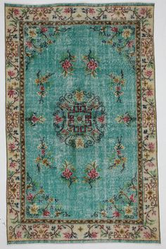 Use this 20% off coupon code BAZAARBAYARPINTEREST to buy this Aqua Medallion Vintage Rug by bazaarbayar on Etsy