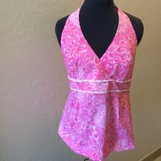 Lilly Pulitzer Pink & White Cotton Floral Halter Lilly Pulitzer Pink & White Floral Halter. Beautiful lines fun & flirty for summer!  Pair it with a Skirt or some Capri Pants!  In excellent condition! Lilly Pulitzer Tops