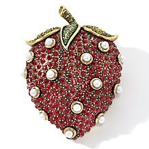 Heidi Daus Crystal-Accented Strawberry-Design Pin