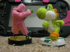 customized Little Mac amiibo and Yarn Yoshi amiibo by NlightNd1