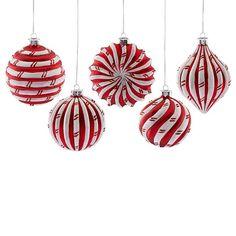 Peppermint 5-piece Ornament Set