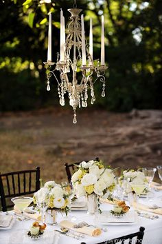 A table set for six under the stars. Gorgeous concept for a vintage 1920's wedding or cocktail party.