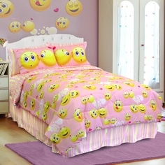 Seriously?  @Overstock - The Veratex Emoji comforter set is constructed from soft 100-percent microfiber polyester. With an all over design print of lovable faces and hearts, the set is fun for any child.  http://www.overstock.com/Bedding-Bath/Veratex-Emoji-Comforter-Set/7341408/product.html?CID=214117 $49.99