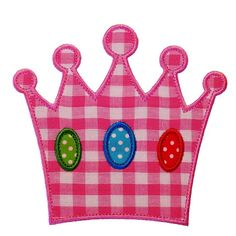 """PRINCESS CROWN Machine Embroidery Applique Design Pattern in 3 sizes 4"""", 5"""" and 6"""""""
