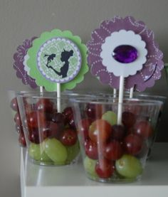 fruit in a cup love it you could even put jello in them and have jello cups  --I like the printables in the cups.