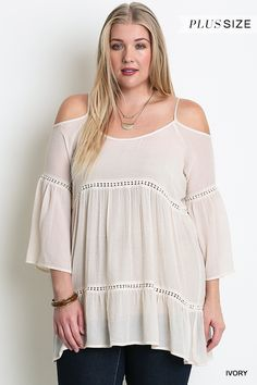 Plus Size Bell Sleeve Teared Tunic in Ivory