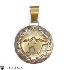 amuleta navajo - Spirit Bear - argint & gold filled - Robert Jonhson cca 1970