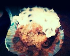 BEST CREATION EVER!!!!!!!!!!!!!!!!!!!!!!!!!!!!!!!!!!!!!!!!!!!!!!! (Banana Chocolate cupcake w/ Vanilla Chocolate Chip frosting)
