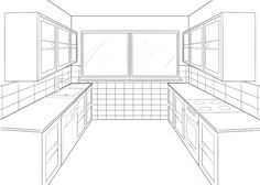 kitchen perspective drawing | One Point Perspective Kitchen