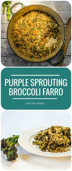 This baked farro risotto with purple sprouting broccoli is a juicy ...