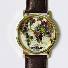 The World in Full Bloom Map Floral Watch, Vintage Style Leather Watch, Women Watches,Mens Watch, Boyfriend Watch, by FreeForme on Etsy https://www.etsy.com/listing/194478749/the-world-in-full-bloom-map-floral-watch