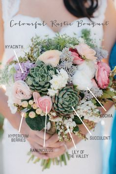 This is a wonderful Colourful Rustic Bridal Bouquet Recipe! We love working with succulents AND creating rustic arrangements for any wedding or event! Rustic Bridal Bouquets, Bride Bouquets, Rustic Bouquet, Country Wedding Bouquets, Spring Wedding Bouquets, Flower Bouquets, Succulent Bouquet, Succulent Names, Wedding Bouquets With Succulents