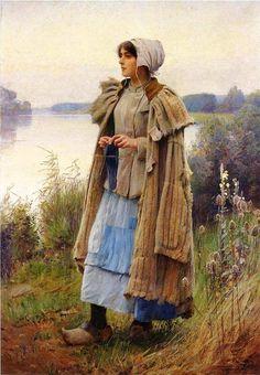 """Sheperdess Knitting"" by Charles Prague Pearce 1890"
